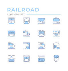Set color line icons railroad vector