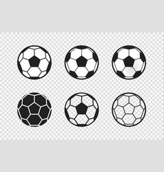set different black and white soccer or vector image