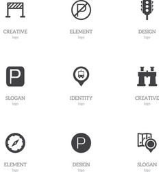 Set of 9 editable map icons includes symbols such vector