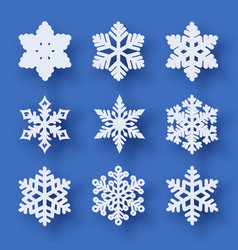 set of 9 paper cut snowflakes with shadow vector image