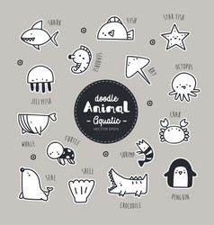set of aquatic animal icon vector image