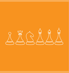 set of sketch chess figures - king queen vector image