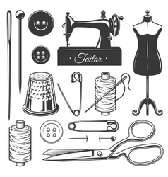 Set of vintage monochrome tailor tools vector image