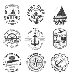 Set sailing camp and yacht club badge vector