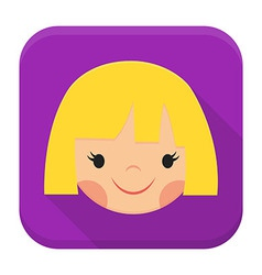 Smiling girl face app icon with long shadow vector image