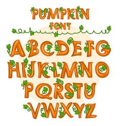 Stylized pumpkin alphabet for autumn theme font vector