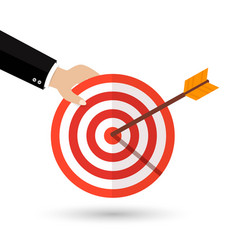 target with an arrow flat icon vector image