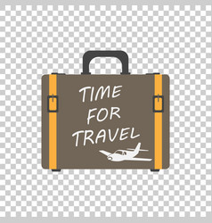 Time for travel concept flat suitcase for vector