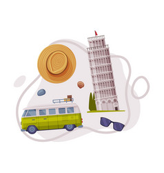 Travel and tourism attribute with pisa leaning vector