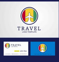 Travel guinea creative circle flag logo vector