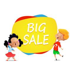 two cartoon kids jump near banner big sale vector image