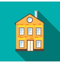Two stored cottage icon flat style vector image