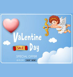 valentines day sale banner with cute cartoon cupi vector image