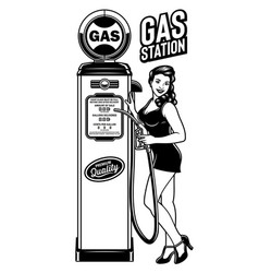 Vintage pin up girl gas station vector