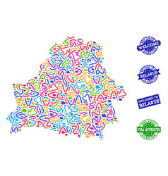 Welcome composition of mosaic map of belarus and vector
