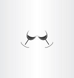 wine glasses cheers logo icon vector image