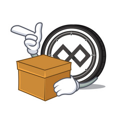 with box tenx coin character cartoon vector image