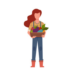 Woman gardener with harvest agricultural worker vector