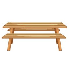 Wooden picnic table on white background vector