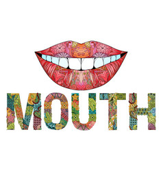 Word mouth with silhouette of lips vector