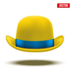 Yellow bowler hat on a white background vector image