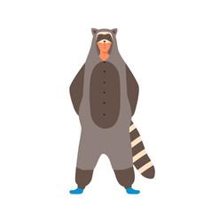 Young man wearing funny animal kigurumi for home vector