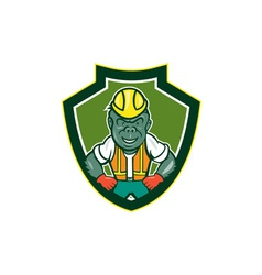 Angry Gorilla Construction Worker Shield Cartoon vector image vector image