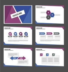 Blue and Purple presentation templates set vector image vector image
