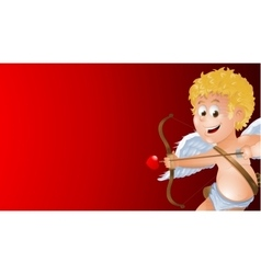 Cartoon cupid showing a blank red background vector