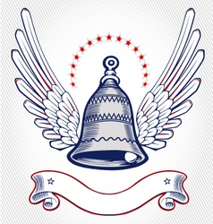 christmas bell wing emblem vector image
