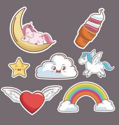 kawaii cloud heart wings unicorn ice cream moon vector image