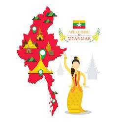myanmar map and landmarks traditional dance vector image vector image