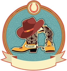 cowboy boots and hat label vector image vector image