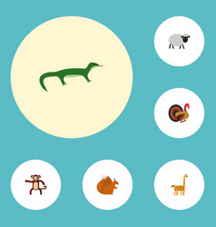 flat icons mutton gobbler chipmunk and other vector image vector image