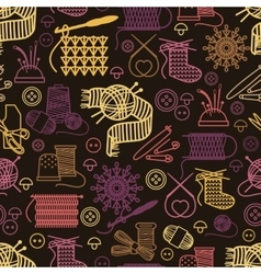 Knitting and needlework seamless pattern vector image vector image