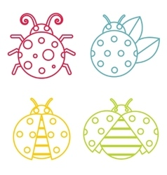 Ladybug icons in color line style on white vector image vector image