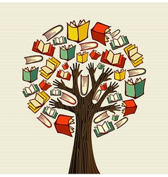 Concept design hand books tree vector image vector image