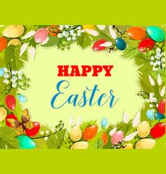 Easter egg floral background for poster design vector