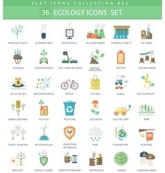 Ecology color flat icon set Elegant style vector image