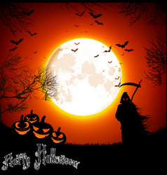 halloween background with ghost and pumpkins on th vector image