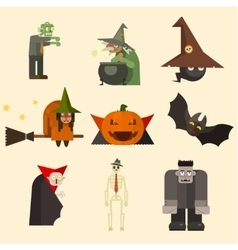 Halloween Characters in Flat Style vector image vector image