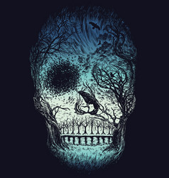 hand drawn abstract skull made from trees and foli vector image