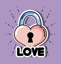heart in padlock shape to love symbol vector image