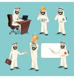 Arab businessman in different actions vector image