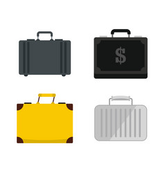 business case icon set flat style vector image vector image