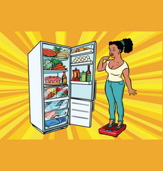 Diet young woman on scales stand next to the vector