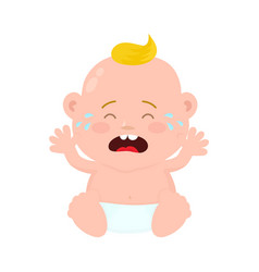sad crying little baby child boy vector image