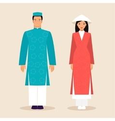 Vietnamese man and a woman vector image