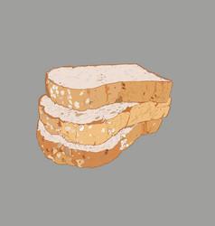 whole wheat bread multi grain bread sketch vector image