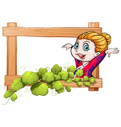 A ballerina inside the frame with vineplants vector image